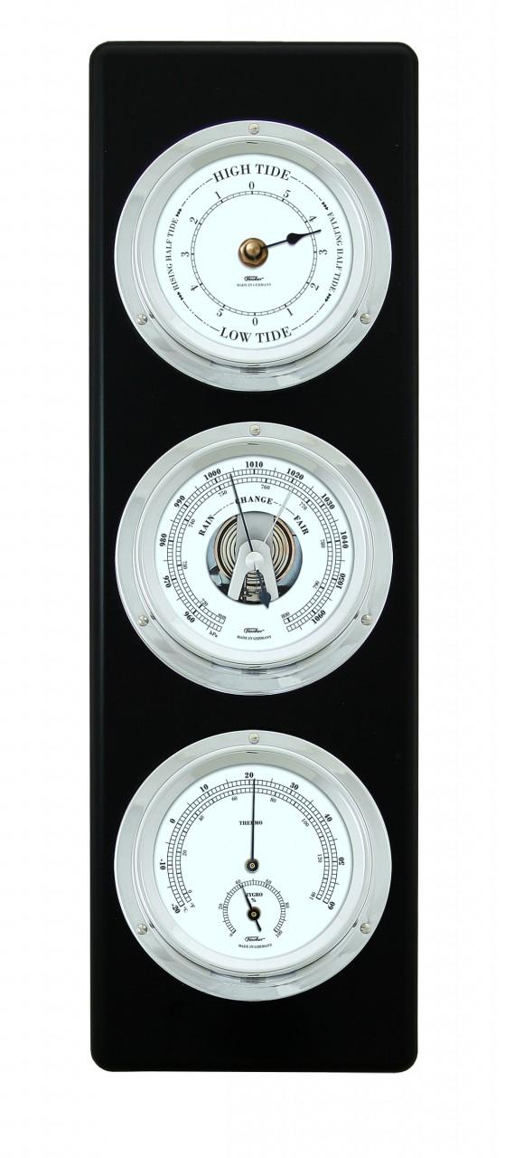 fischer wetterstation mit tiden uhr barometer hygrometer thermometer ebay. Black Bedroom Furniture Sets. Home Design Ideas