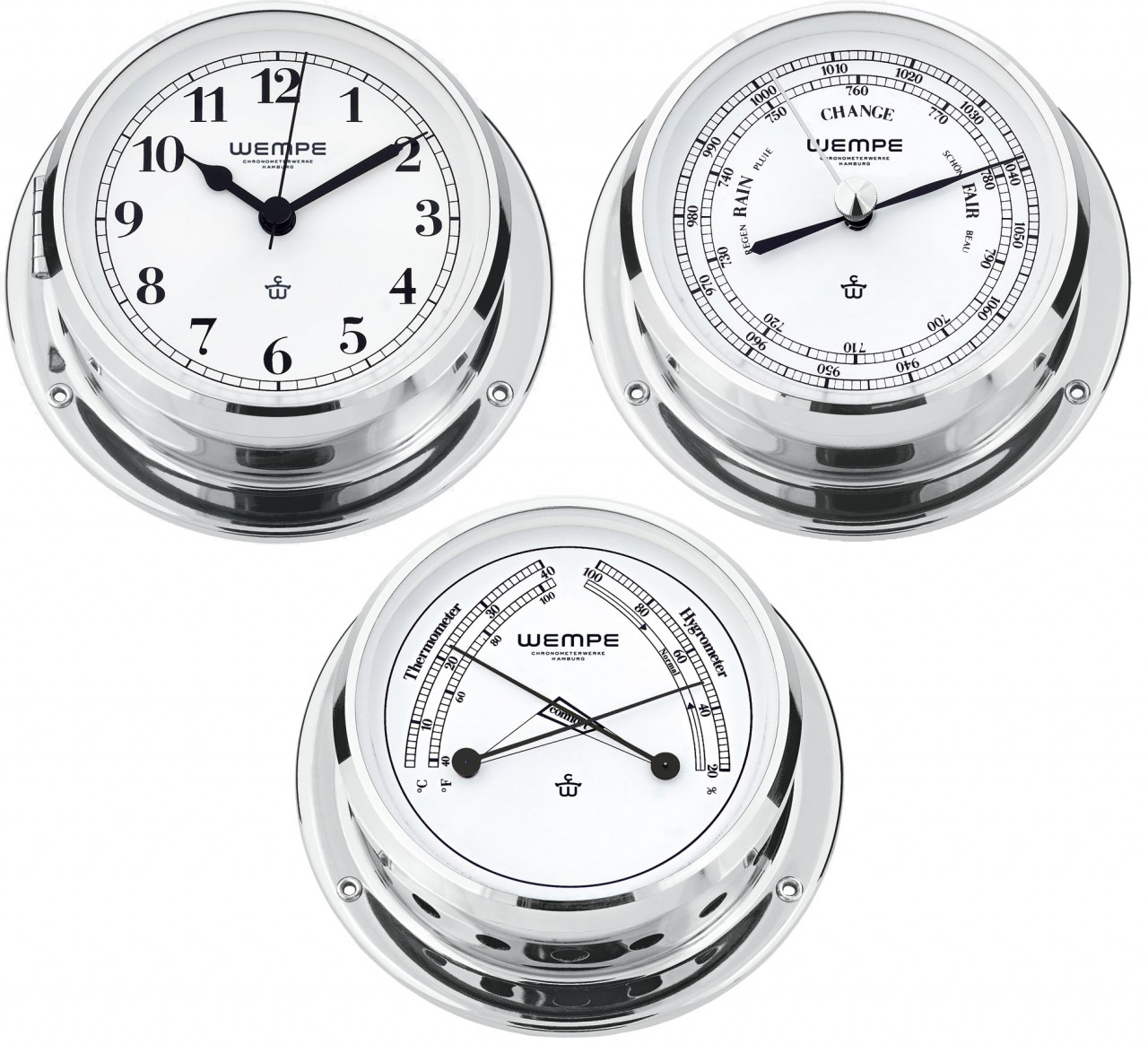 wempe serie skiff chrom 110mm yachtuhr arab ziff barometer comfortmeter ebay. Black Bedroom Furniture Sets. Home Design Ideas