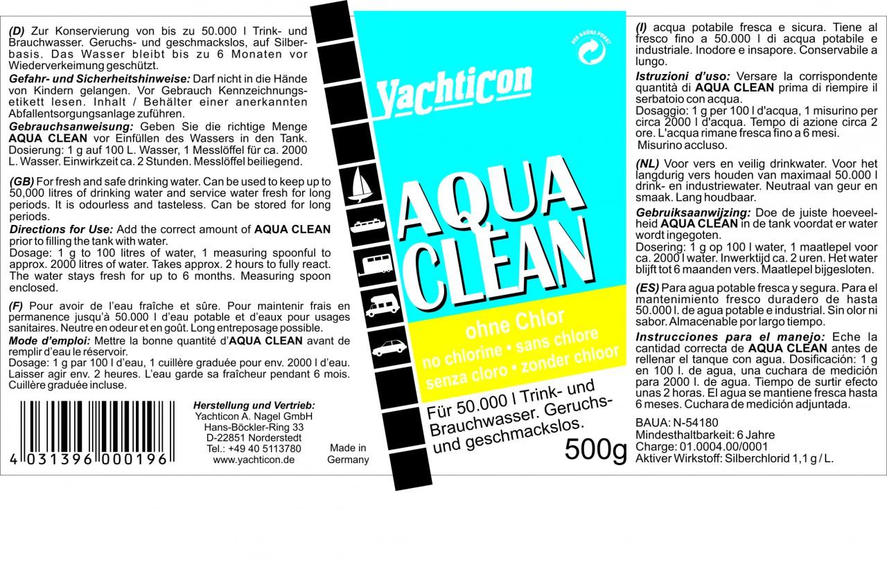 Yachticon aqua clean ac ohne chlor 500g f r 50000 liter for Gartenpool ohne chlor