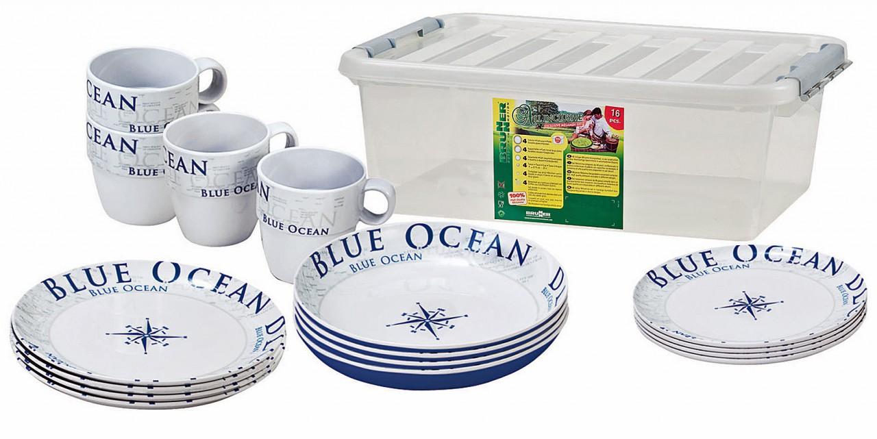 navyline blue ocean hart kunststoff geschirr set 16 teilig. Black Bedroom Furniture Sets. Home Design Ideas