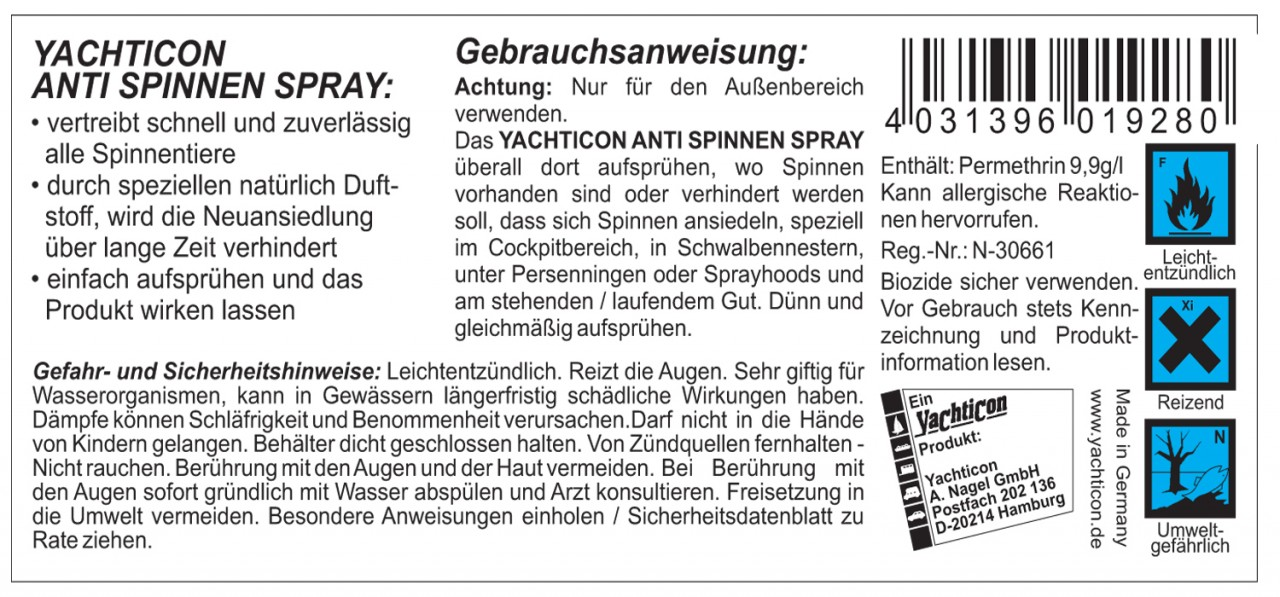 yachticon anti spinnenspray 500ml spray zur vertreibung. Black Bedroom Furniture Sets. Home Design Ideas