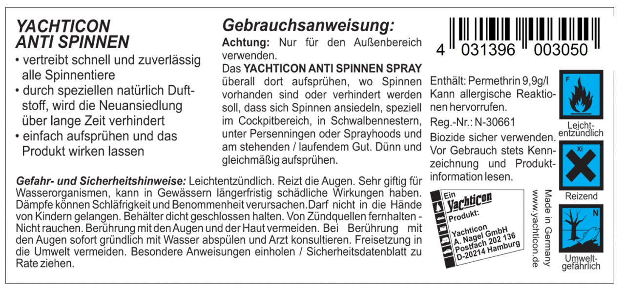 yachticon anti spinnen spray 5 liter antispinnenspray. Black Bedroom Furniture Sets. Home Design Ideas