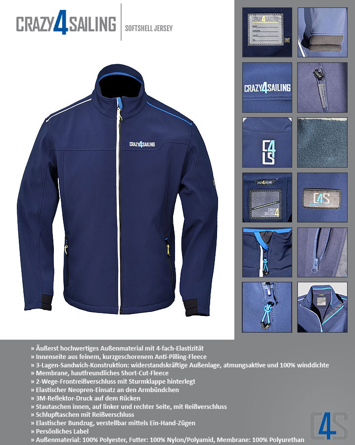 Crazy4Sailing Sofshell Jacke - Details